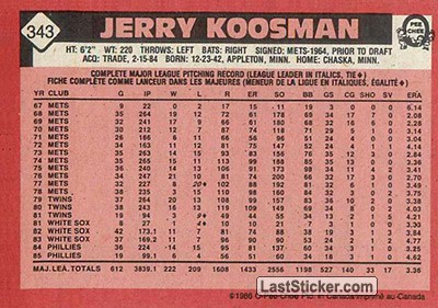 Jerry Koosman (Philadelphia Phillies) - Back