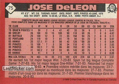 Jose DeLeon (Pittsburgh Pirates) - Back