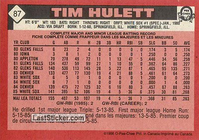 Tim Hulett (Chicago White Sox) - Back