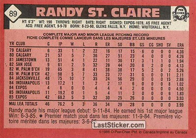 Randy St. Claire (Montreal Expos) - Back