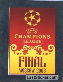 Sticker 8: Poster Final Moscow 2008 - Panini UEFA Champions