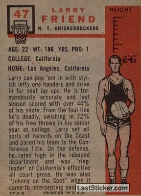 Larry Friend (New York Knicks) - Back
