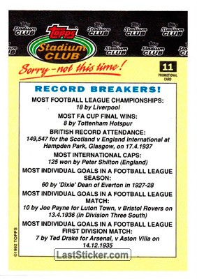 Record Breakers (Stadium Club) - Back