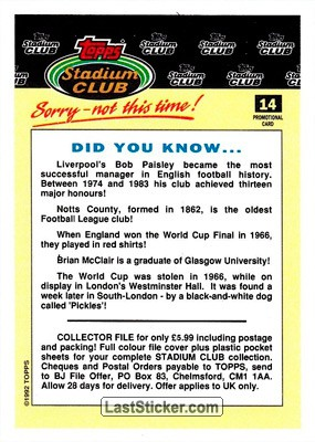 Did You Know (Stadium Club) - Back