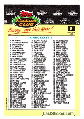 Checklist 1-100 (Stadium Club) - Back