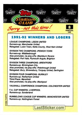 1991-92 Winners and Losers (Stadium Club) - Back