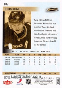 Chris Kunitz (Anaheim Ducks) - Back