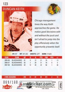 Duncan Keith (Chicago Blackhawks) - Back