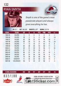Ryan Smyth (Colorado Avalanche) - Back