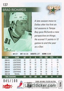 Brad Richards (Dallas Stars) - Back