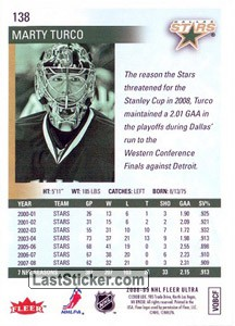 Marty Turco (Dallas Stars) - Back