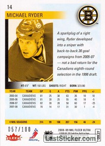 Michael Ryder (Boston Bruins) - Back