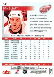Dan Cleary (Detroit Red Wings) - Back