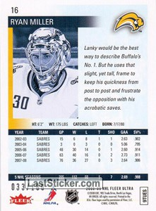 Ryan Miller (Buffalo Sabres) - Back