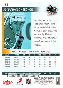 Jonathan Cheechoo (San Jose Sharks) - Back