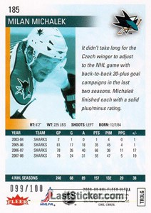 Milan Michalek (San Jose Sharks) - Back