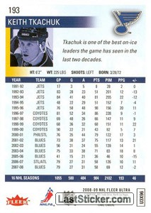 Keith Tkachuk (St. Louis Blues) - Back