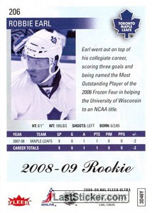 Robbie Earl (Toronto Maple Leafs) - Back