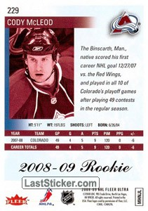 Cody McLeod (Colorado Avalanche) - Back