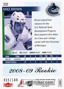 Mike Brown (Vancouver Canucks) - Back