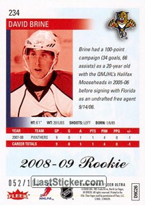 David Brine (Florida Panthers) - Back