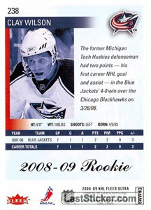 Clay Wilson (Columbus Blue Jackets) - Back