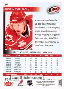 Justin Williams (Carolina Hurricanes) - Back