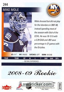 Mike Mole (New York Islanders) - Back