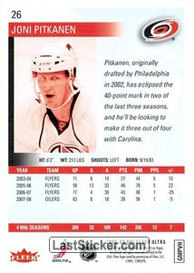 Joni Pitkanen (Carolina Hurricanes) - Back