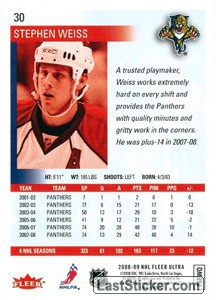 Stephen Weiss (Florida Panthers) - Back