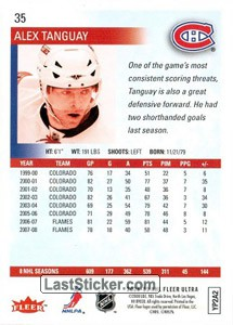 Alex Tanguay (Montreal Canadiens) - Back