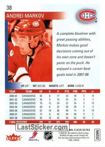 Andrei Markov (Montreal Canadiens) - Back