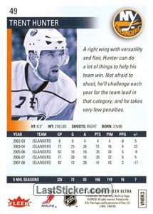 Trent Hunter (New York Islanders) - Back