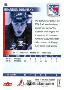 Brandon Dubinsky (New York Rangers) - Back