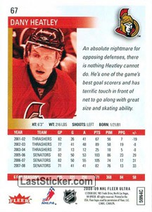 Dany Heatley (Ottawa Senators) - Back