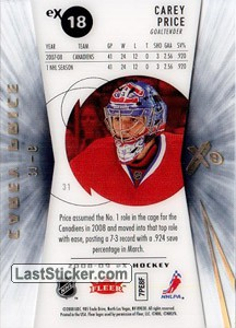 Carey Price (Montreal Canadiens) - Back