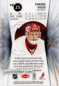 Dominik Hasek (Detroit Red Wings) - Back