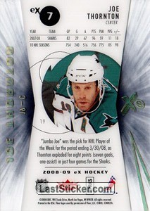 Joe Thornton (San Jose Sharks) - Back