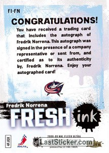 Fredrik Norrena (Columbus Blue Jackets) - Back