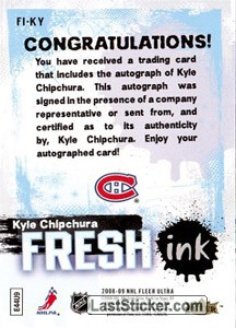 Kyle Chipchura (Montreal Canadiens) - Back