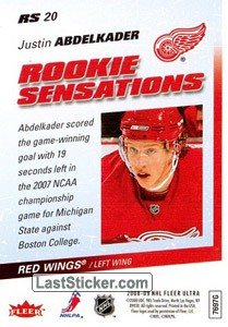 Justin Abdelkader (Detroit Red Wings) - Back