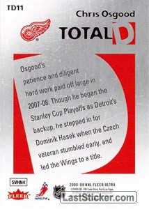 Chris Osgood (Detroit Red Wings) - Back