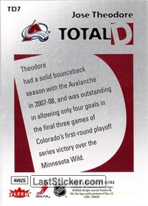 Jose Theodore (Colorado Avalanche) - Back