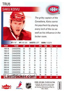 Saku Koivu (Montreal Canadiens) - Back