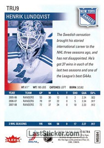 Henrik Lundqvist (New York Rangers) - Back