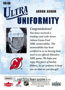 Arron Asham (New Jersey Devils) - Back