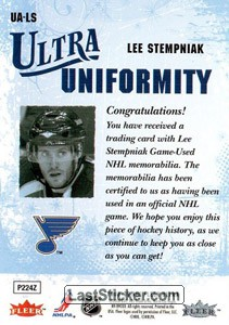Lee Stempniak (St. Louis Blues) - Back