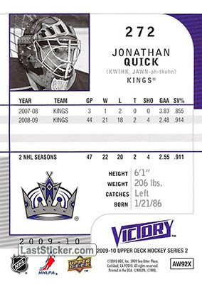 Jonathan Quick (Los Angeles Kings) - Back