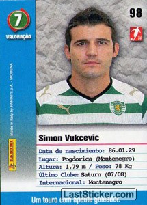 Vukcevic (Sporting) - Back