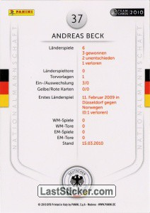 Andreas Beck (Action-Cards) - Back